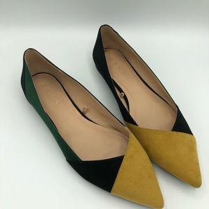 Zara TRF pointy toe multi color faux suede flat
